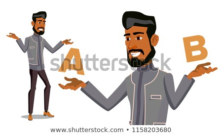 Arab Man Comparing A With B Vector. Balance Of Mind And Emotions. Client Choice. Compare Objects, Wa Stock photo © pikepicture