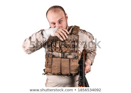 Soldaat klaar oorlog voorbereiding veld Stockfoto © vichie81