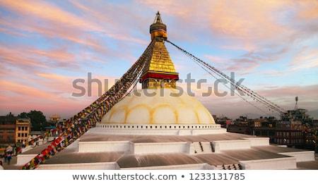 vermelho · tibete · topo · histórico · blue · sky · edifício - foto stock © thp