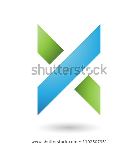 Stock photo: Blue and Green Thick Shaded Letter X Vector Illustration