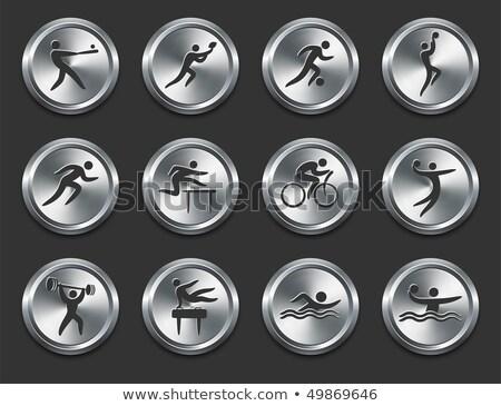 Metallic Sports Icons Collection Set Stock photo © patrimonio