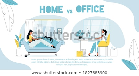 Distant Work and Freelance Poster Freelancer Woman Stock photo © robuart