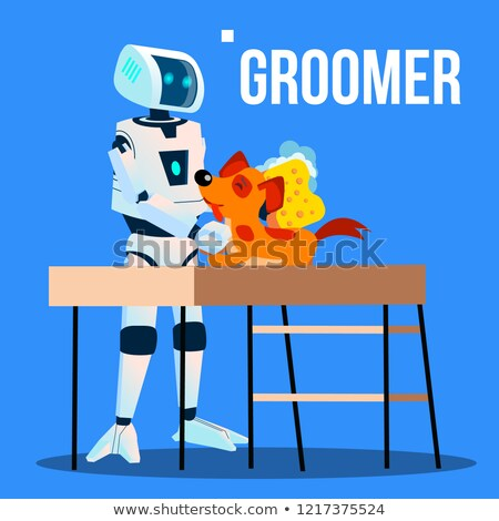 robot groomer assistant washing pet dog with washcloth vector isolated illustration stock photo © pikepicture