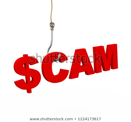 3d dollar sign scam word attached to fishing hook Stock photo © nasirkhan