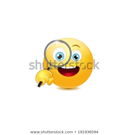 Magnifying glass emoticon Stock photo © yayayoyo