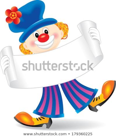 Cartoon clown holding a sign stock photo © bennerdesign