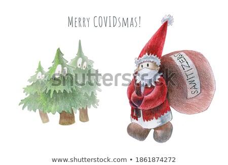 страшно Cartoon снеговик иллюстрация Дед Мороз Сток-фото © cthoman