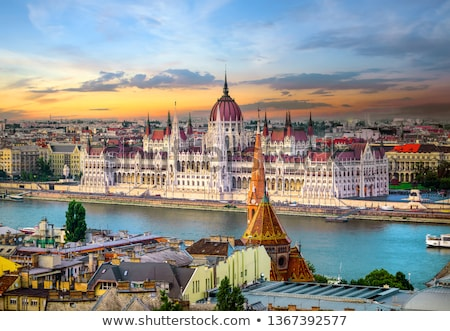 закат парламент лодка Дунай Сток-фото © Givaga