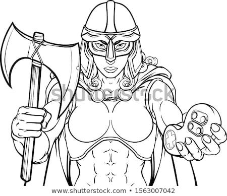 Karikatür öfkeli viking kadın bakıyor Stok fotoğraf © cthoman