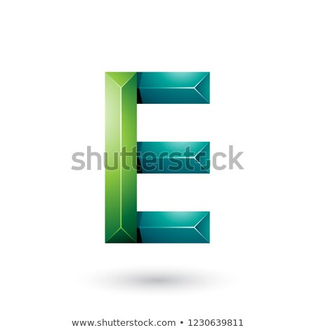 light and dark green pyramid like geometrical letter e vector il stock photo © cidepix