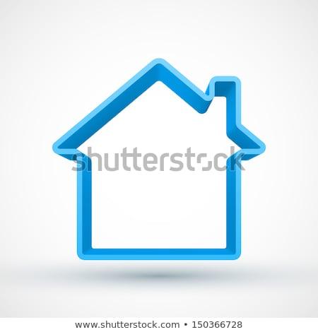 Blue house outline sign 3D Stock photo © djmilic