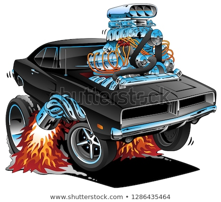 Classic Sixties Style American Muscle Car, Huge Chrome Motor, Popping a Wheelie, Cartoon Vector Illu stock photo © jeff_hobrath