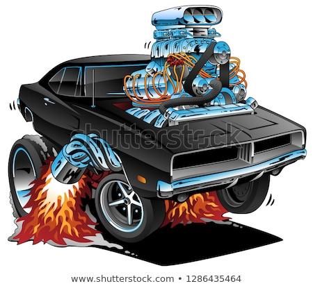 Stock photo: Classic Sixties Style American Muscle Car Huge Chrome Motor Popping A Wheelie Cartoon Vector Illu