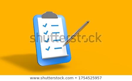 azul · lista · clipboard · negócio · papel · lápis - foto stock © make