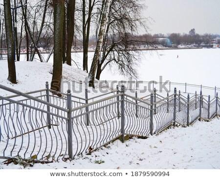 Treppe Himmel bedeckt Eis Frost Treppe Stock foto © romvo