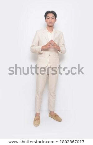 jonge · man · Blauw · vest · grijs · man · model - stockfoto © feedough