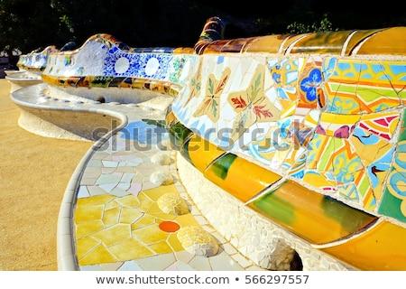 colored tile bench stock photo © bobkeenan