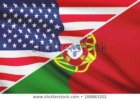 Dos banderas Estados Unidos Portugal aislado Foto stock © MikhailMishchenko