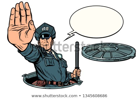Police stop gesture, dangerous manhole. Road works Stock photo © studiostoks