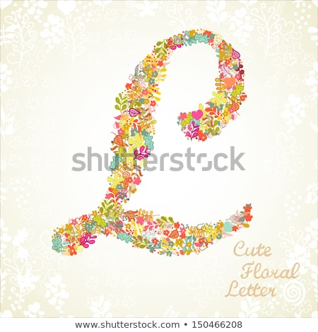 Letter L made from flowers gerbera on a color background of the year 2019 Living Coral Pantone. Part Stock photo © artjazz