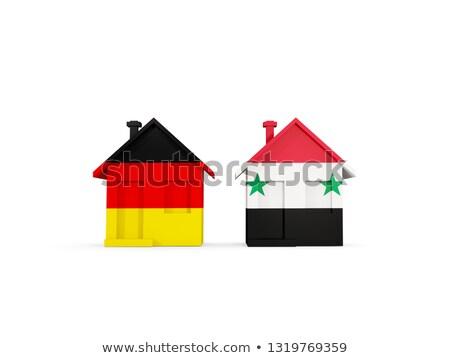 Dois casas bandeiras Alemanha Síria isolado Foto stock © MikhailMishchenko