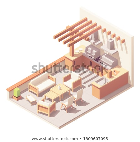 Vector isometric patio with barbecue grill Stock photo © tele52