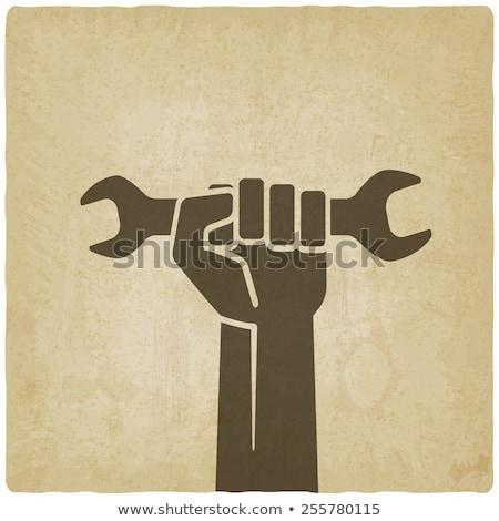 スパナ · 文字 · マスコット · 金 · レンチ · 実例 - ストックフォト © krisdog