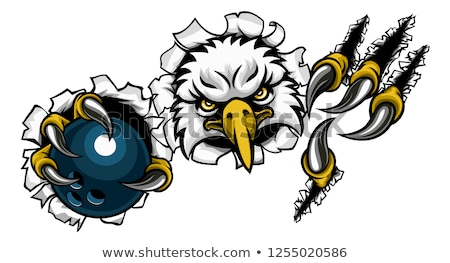 Foto stock: Eagle Bowling Cartoon Mascot Tearing Background