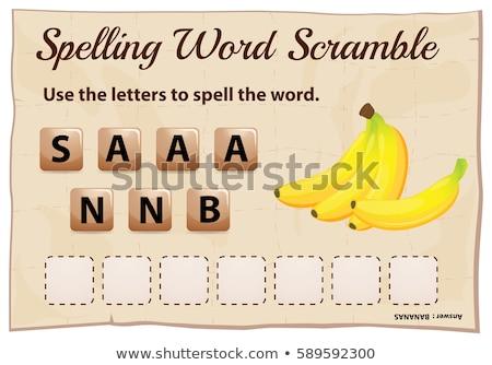 Spelling scramble game template for bananas Stock photo © colematt