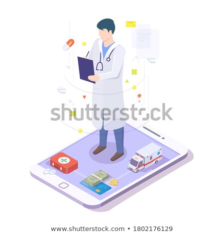 3d doctor physician writing patient medical record Stock photo © ribah
