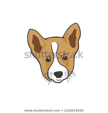 Kutya fej ikon sziluett retró stílus színes Stock fotó © JeksonGraphics