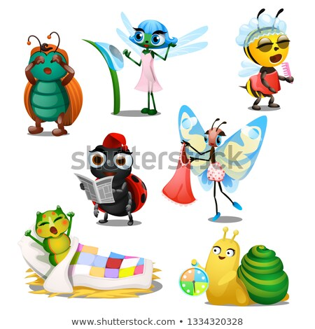 Set of cute joyful insects in the morning isolated on white background. Regimen of day. Vector carto Stock photo © Lady-Luck