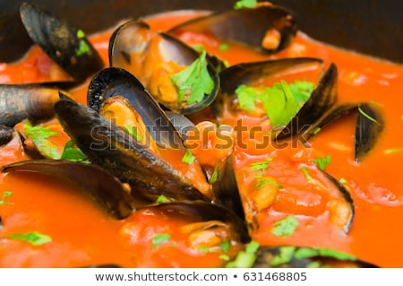 Sos pomidorowy pietruszka gotowany owoce morza cytryny Zdjęcia stock © karandaev