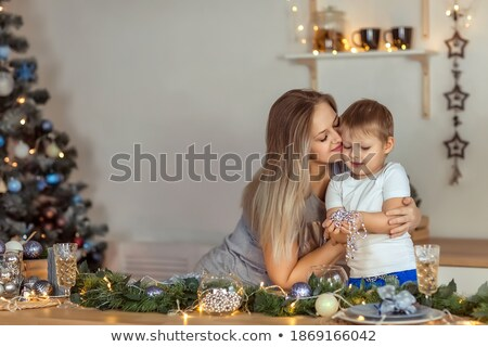 Best Wishes Christmas Holidays, Girl Sits at Table Stock photo © robuart