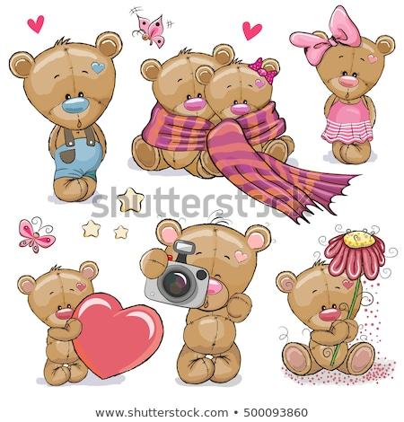 cartoon · różowy · miś · retro · balon · rysunek - zdjęcia stock © robuart