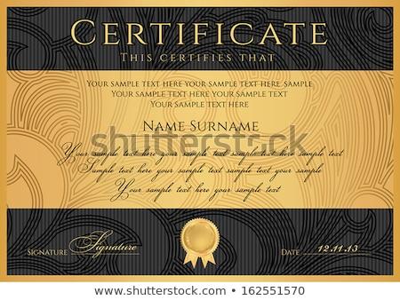 Сток-фото: премия · черный · сертификата · шаблон · линия