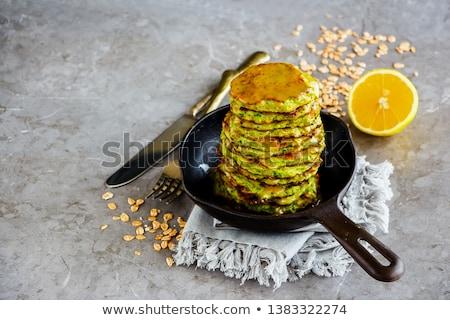 燕麦 ズッキーニ パンケーキ ドレッシング 青 ストックフォト © YuliyaGontar