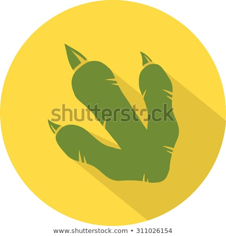 Yellow Dinosaur Footprint Circle Flat Design Icon Stock photo © hittoon