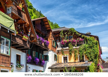 Balcony with blooming flowers at Austrian house Stock photo © michaklootwijk