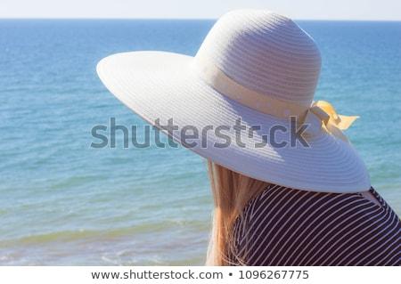lány · nyár · ruha · kalap · szandál · terasz - stock fotó © ElenaBatkova