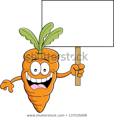 Cartoon carotte signe illustration souriant Photo stock © bennerdesign