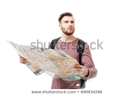 Stockfoto: Toeristen · naar · kaart · verloren · mensen