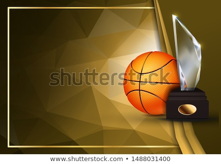 Basketball Game Certificate Diploma With Glass Trophy Vector. Sport Graduate Champion. Best Prize. W Stock photo © pikepicture