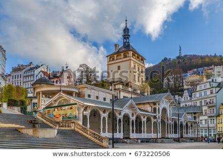 Market Colonnade and Castle Tower, Karlovy Vary, Czech republic stock photo © borisb17