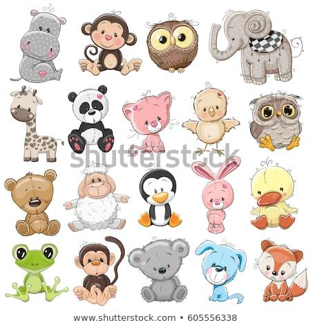 Cute animals illustration - set rabbit cartoon Stock photo © rwgusev