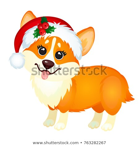 Cute little yellow dog with cap of Santa Claus teasing tongue isolated on white background. Sketch o Stock photo © Lady-Luck