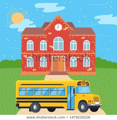 Okul otobüsü kolej toplu taşıma vektör otobüs okul Stok fotoğraf © robuart