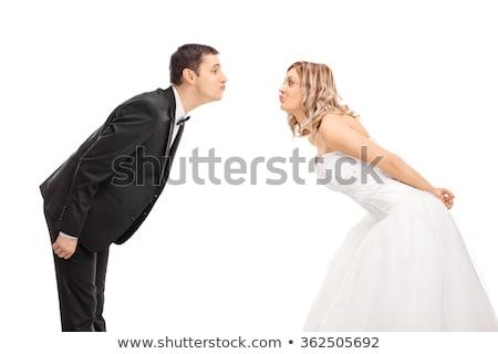 Yeni evli çift öpücük adam kadın düğün Stok fotoğraf © robuart