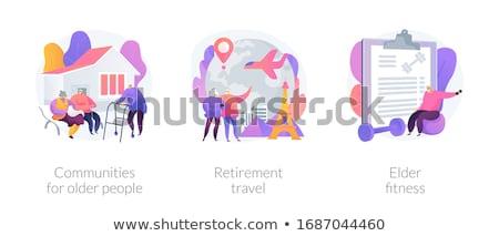Retraite Voyage couple de personnes âgées à l'étranger route voyage Photo stock © RAStudio