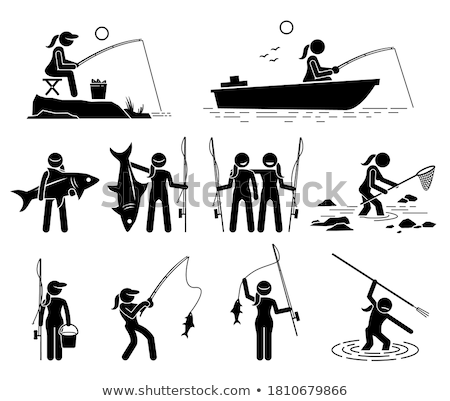 hobby fishery fishing rod and fish in pail vector stock photo © robuart